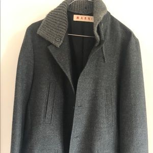 Marni Wool Coat w/ Knit Collar size 50IT
